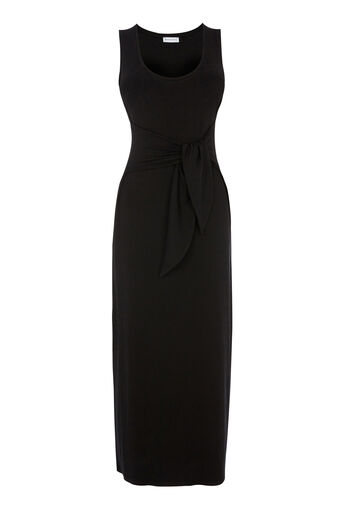 Warehouse, TIE FRONT MAXI DRESS Black 0