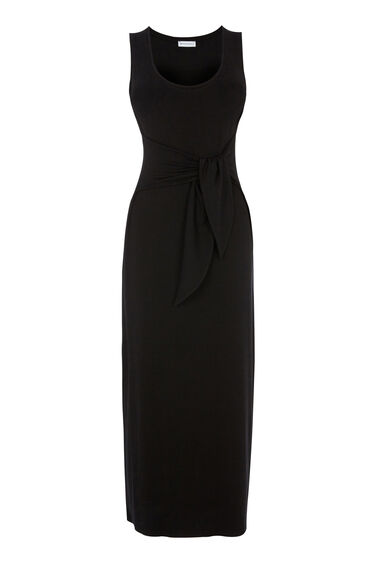 Warehouse, TIE FRONT MAXI DRESS Black 0