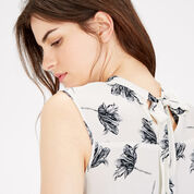 Warehouse, STENCIL FLORAL TIE BACK TOP Cream 4