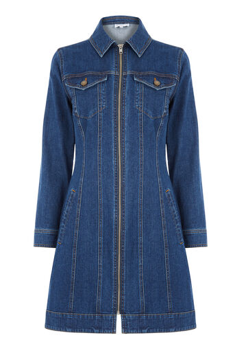 Warehouse, Zip Front Denim Dress Mid Wash Denim 0