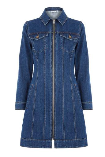 Warehouse, Zip Front Denim Dress Mid Wash Denim 0
