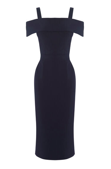 Warehouse, CREPE OFF THE SHOULDER DRESS Navy 0