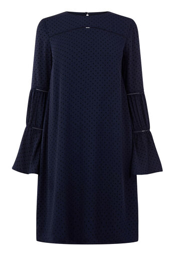Warehouse, DOBBY LACE INSERT DRESS Navy 0