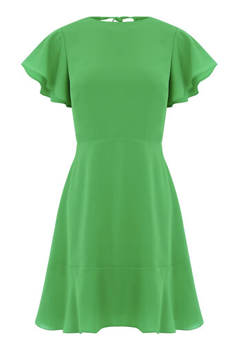 Warehouse, FLARED SLEEVE SKATER DRESS Bright Green 0