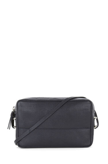 Warehouse, Leather Textured Shoulder Bag Navy 0