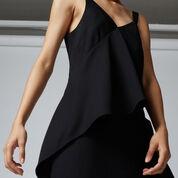 Warehouse, V NECK CREPE RUFFLE MAXI DRESS Black 4