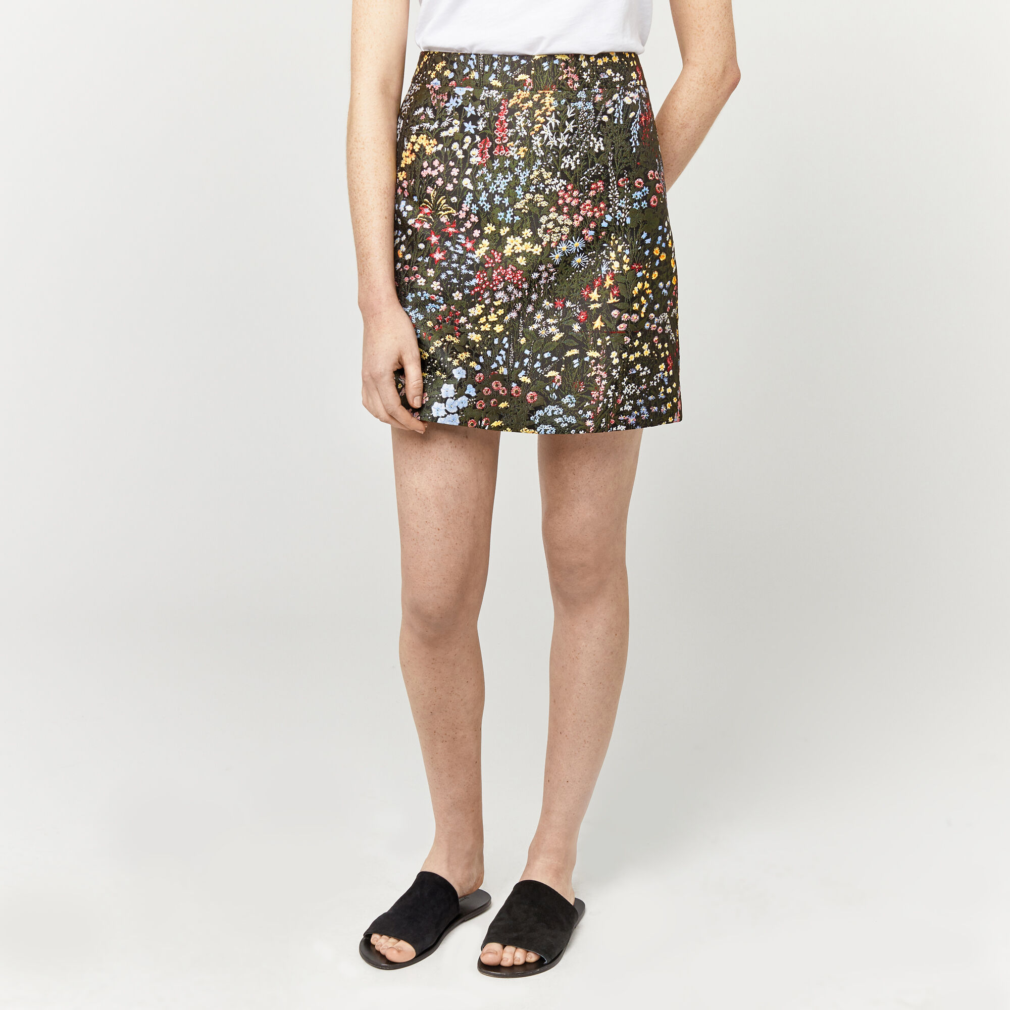 Warehouse, WILD GARDEN JACQUARD SKIRT Multi 1
