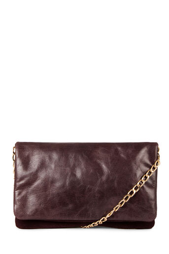 Warehouse, LEATHER CHAIN CROSSBODY Berry 0