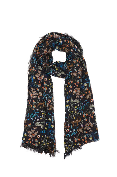 Warehouse, Thistle Print Scarf Black Pattern 0