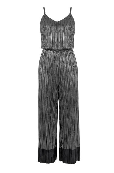 Warehouse, METALLIC PLISSE JUMPSUIT Dark Grey 0