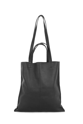 Warehouse, LEATHER DOUBLE HANDLE BAG Black 0
