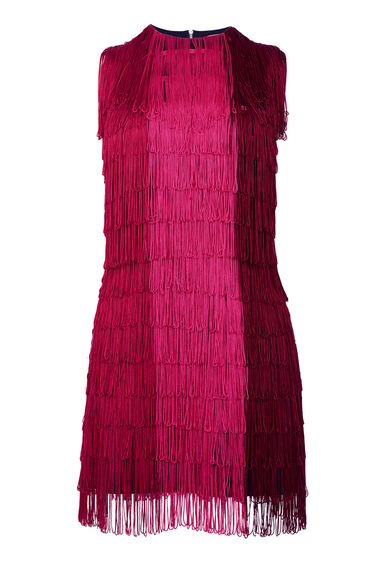 Warehouse, OMBRE FRINGE DRESS Bright Pink 0