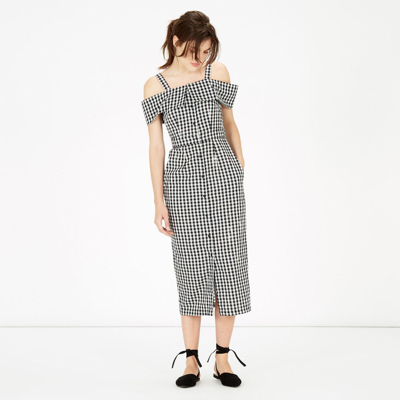 Warehouse, Gingham Off Shoulder Dress Black Pattern 1
