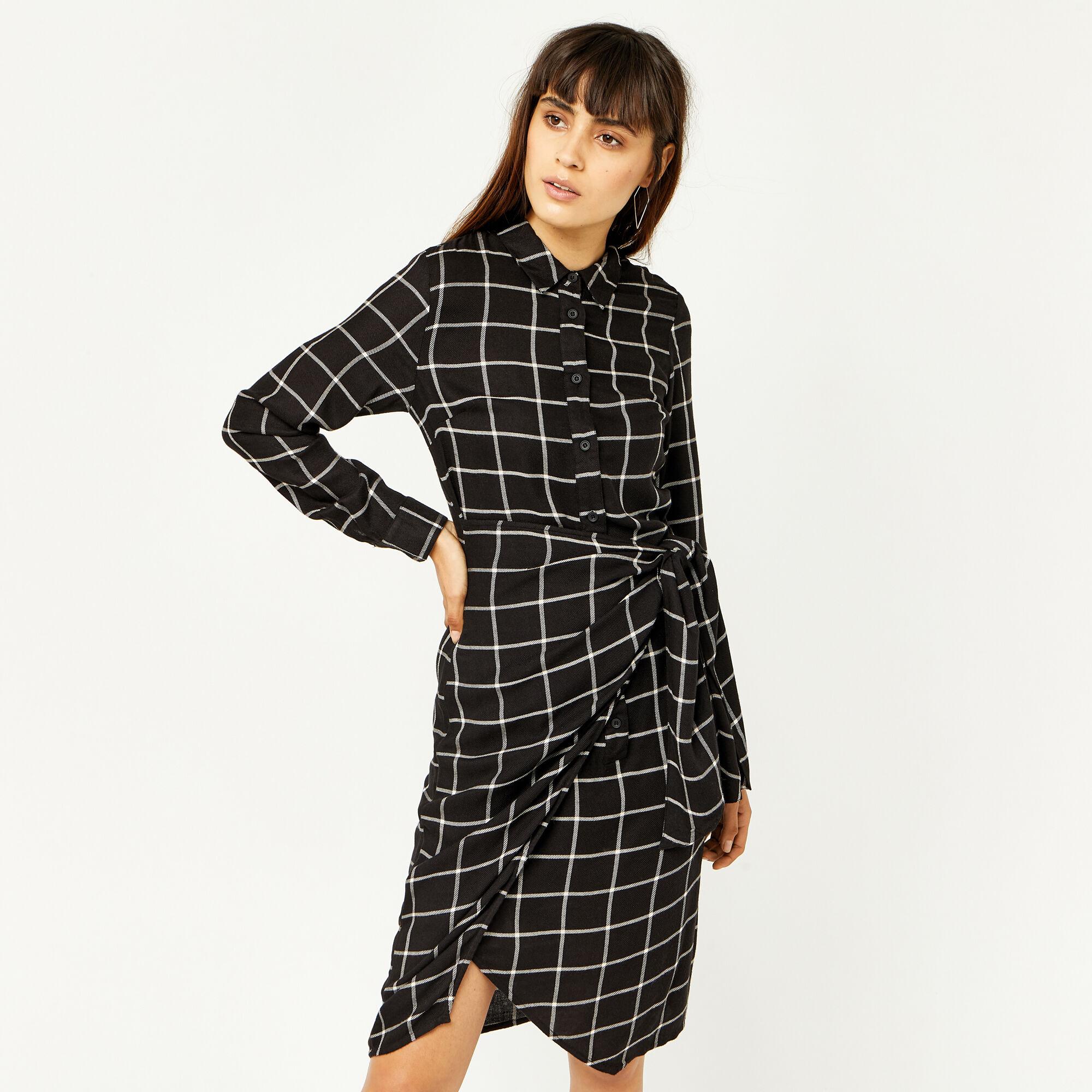 Warehouse, CHECK TIE SIDE DRESS Black Pattern 1