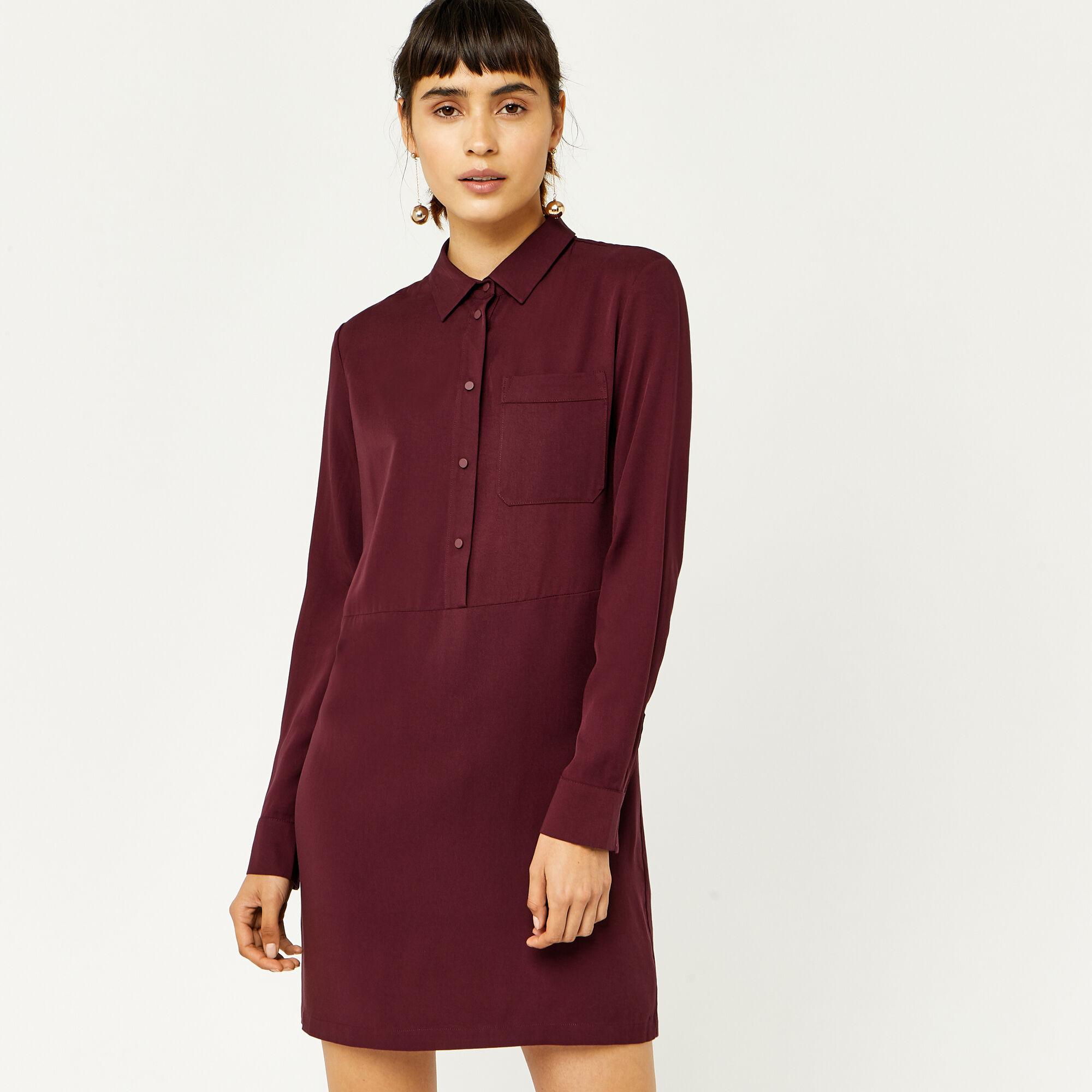 Warehouse, POPPER PLACKET SHIRT DRESS Dark Red 1