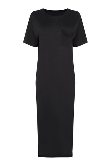 Warehouse, T Shirt Midi Dress Black 0