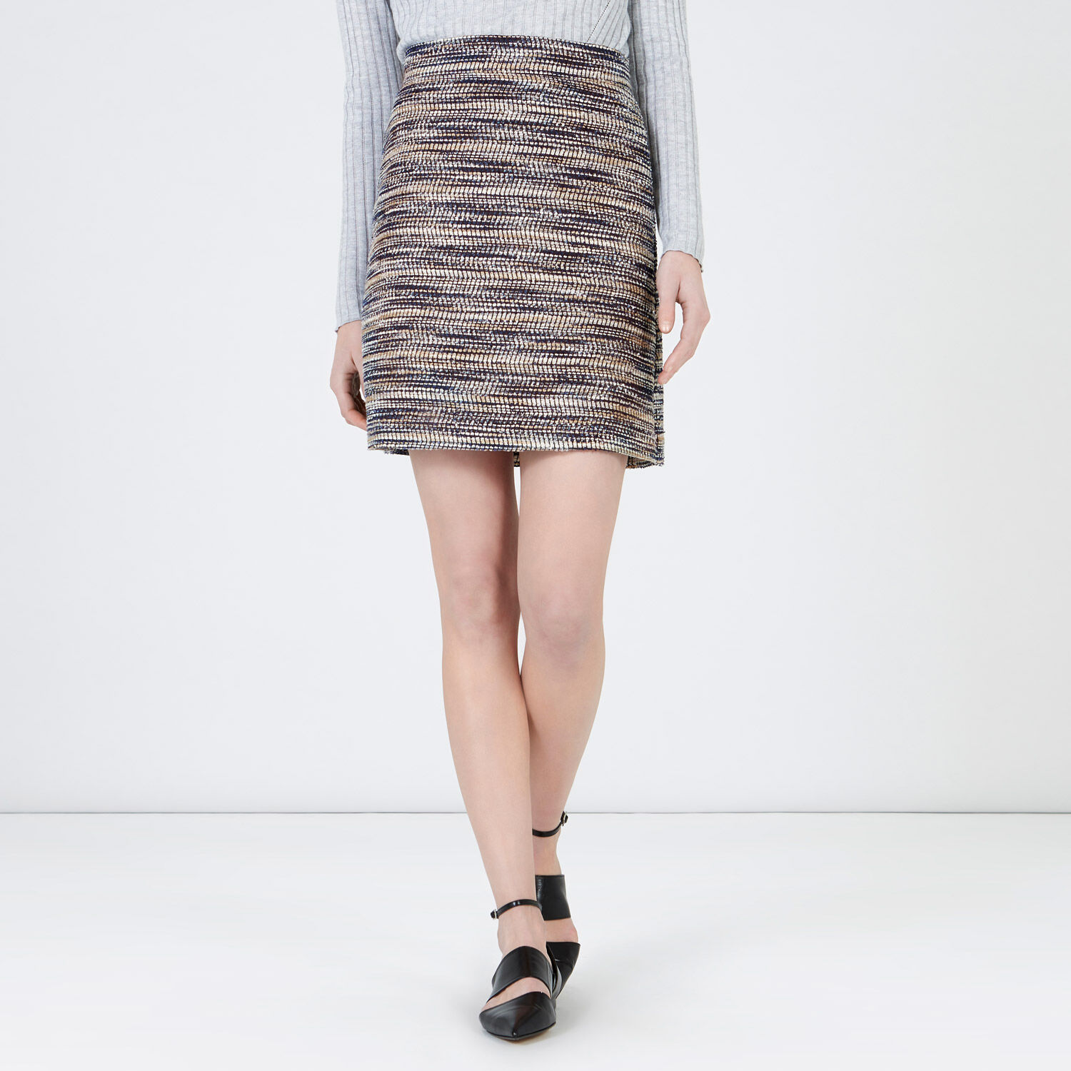 Warehouse, MULTI STRIPE TWEED SKIRT Blue Stripe 1