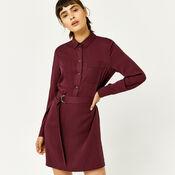 Warehouse, POPPER BELTED SHIRT DRESS Dark Red 3