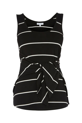 Warehouse, STRIPE TIE FRONT VEST Black Stripe 0