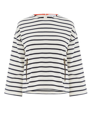 Warehouse, ZIP POCKET STRIPE TOP Blue Stripe 0