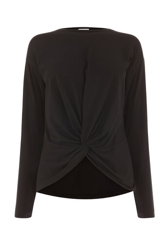 Warehouse, LONG SLEEVE KNOT FRONT TOP Black 0