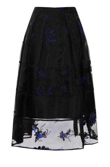 Warehouse, FLORAL EMBROIDERED MIDI SKIRT Black 0