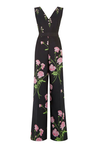 Warehouse, English Rose Jumpsuit Black 0