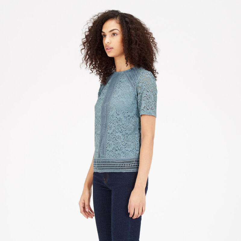 Warehouse, PANELLED LACE TOP Light Blue 1
