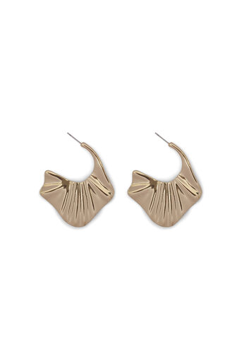 Warehouse, PLEATED HOOP EARRING Gold Colour 0