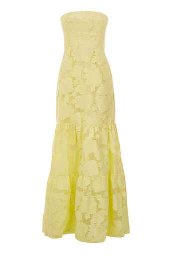 Warehouse, STRAPLESS BURN OUT DRESS Lemon 0