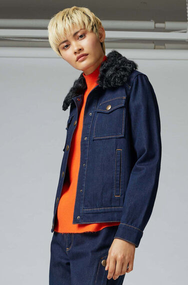 Warehouse, Shearling Collar Denim Jacket Indigo Denim 1