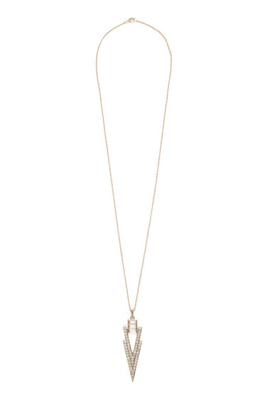 Warehouse, Diamante Long Necklace Gold Colour 0