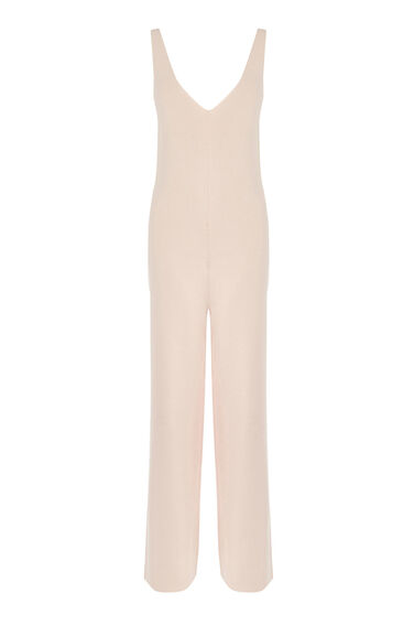 Warehouse, KNITTED DUNGAREE JUMPSUIT Light Pink 0