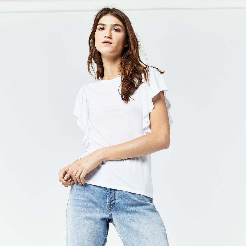 Warehouse, EXAGGERATED FRILL SLEEVE TEE White 1