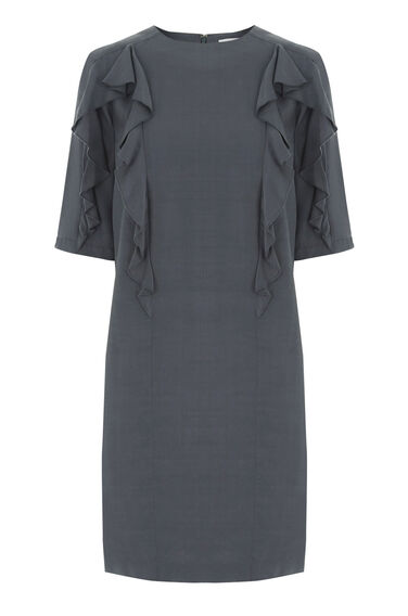 Warehouse, RUFFLE DETAIL SHIFT DRESS Dark Grey 0