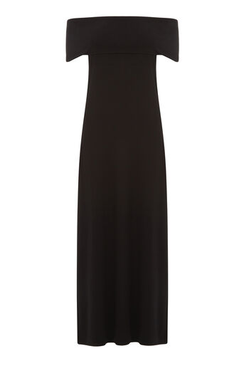 Warehouse, DEEP BARDOT MAXI DRESS Black 0