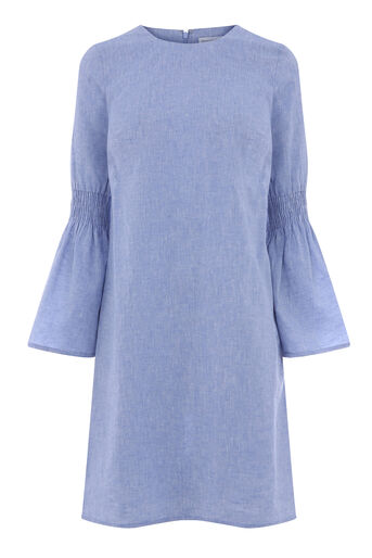 Warehouse, CHAMBRAY SMOCK SLEEVE DRESS Light Blue 0