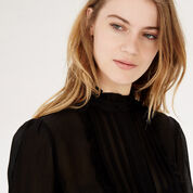 Warehouse, FRILL AND PINTUCK BLOUSE Black 4