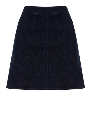 Warehouse, Clean Denim Pelmet Skirt Indigo Denim 0