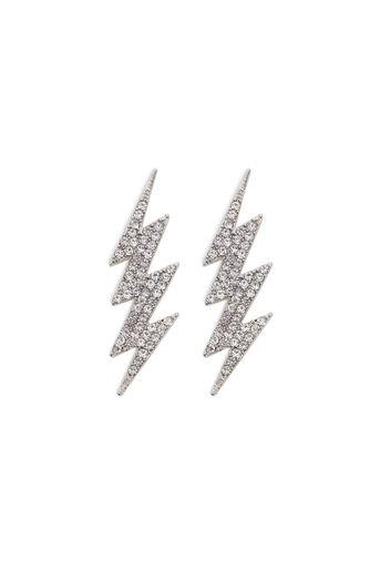 Warehouse, LIGHTENING BOLT EARRINGS Silver Colour 0
