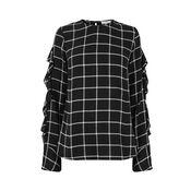 Warehouse, CHECK RUFFLE DETAIL TOP Black Pattern 0