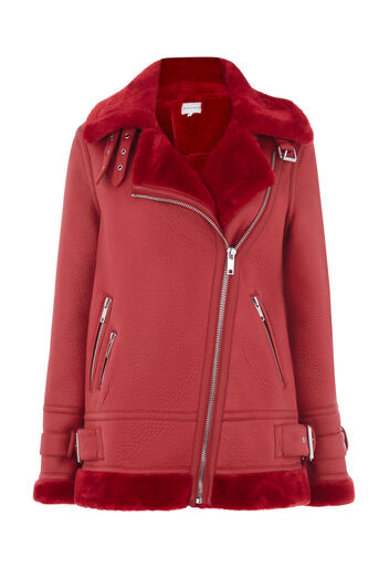 Warehouse, OVERSIZED BIKER Bright Red 0