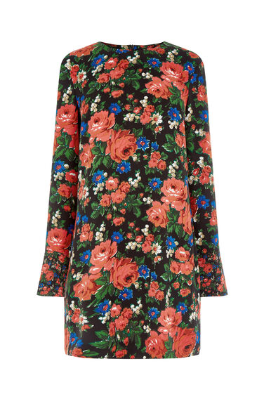 Warehouse, LUPITA ROSE SHIFT DRESS Red Pattern 0