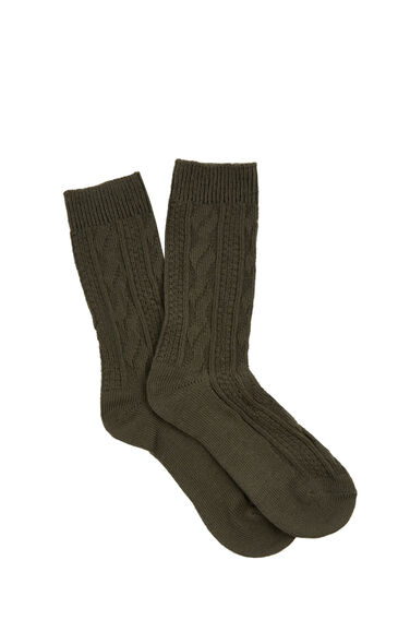 Warehouse, CABLE KNIT SOCKS Dark Green 0