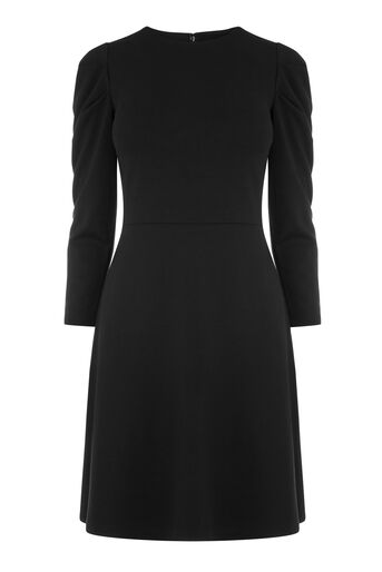 Warehouse, PUFF SLEEVE PONTE DRESS Black 0