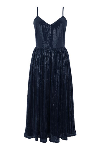 Warehouse, PLEATED SEQUIN CAMI DRESS Navy 0