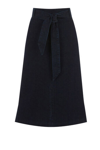 Warehouse, MIDI TIE BELTED SKIRT Dark Wash Denim 0