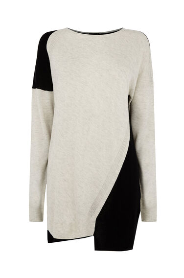 Warehouse, COLOUR BLOCK STEP HEM JUMPER Multi 0