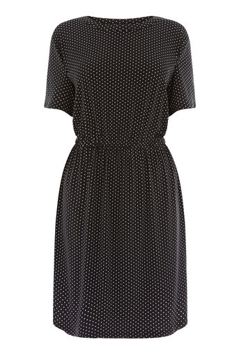 Warehouse, MINI DOT DRESS Black Pattern 0
