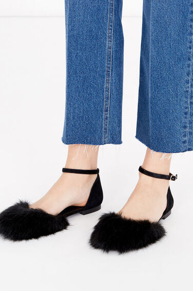Warehouse, Faux Fur Rounded Ballet Pump Black 0